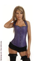Purple Faux Leather Full-Back Corset