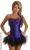 Purple Sequin Burlesque Corset and Pettiskirt