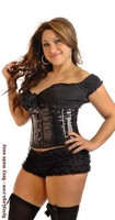 Plus Size Black Sequin Underbust Corset