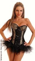 Leopard and Sequin Burlesque Underwire Corset and Pettiskirt