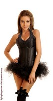 Rocker Zipper Halter Corset and Pettiskirt