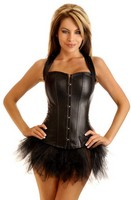 Biker Babe Vegan Leather Corset and Pettiskirt