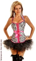 Zebra Halter Top Belted Corset and Pettiskirt