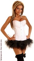 White Pinstripe Underwire Corset and Pettiskirt