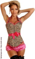 Leopard Halter Pin-Up Burlesque Corset