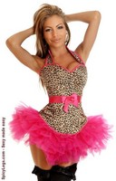 Leopard Halter Pin-Up Burlesque Corset and Pettiskirt