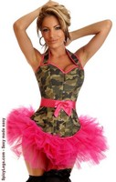Camouflage Burlesque Corset and Pettiskirt