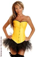 Yellow Ravewear Faux Leather Corset and Pettiskirt
