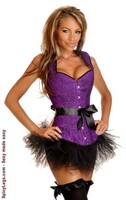 Purple Glitter Halter Corset and Pettiskirt