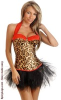 Leopard Pin-Up Halter Corset and Pettiskirt