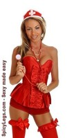 3 PC Red Nurse Corset Costume