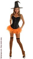 4 PC Glitter Pin-Up Witch Costume