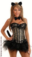 5 PC Burlesque Leopard Corset Costume