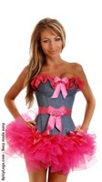 Pin-Up Denim Ruffled Corset and Pettiskirt