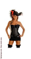 4 PC Pin-Up Pirate Corset Costume