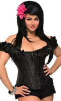 Plus Size Embroidered Peasant Top Corset