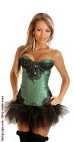Emerald Eyelash Lace Underwire Corset and Pettiskirt