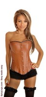 Caramel Vegan Leather Strapless Corset