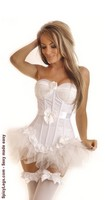 Flocked Polka Dot Underwire Corset and Pettiskirt