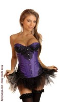 Purple Eyelash Lace Underwire Corset and Pettiskirt