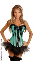 Emerald Rhinestones Strapless Corset and Pettiskirt