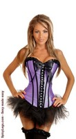 Purple Rhinestones Strapless Corset and Pettiskirt