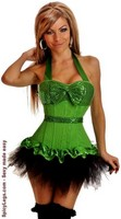 Sequin Halter Top Corset and Pettiskirt