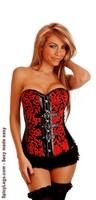 Red Brocade Buckles Strapless Corset