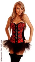 Red Brocade Buckles Strapless Corset and Pettiskirt