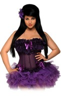 Steel Boned Mesh Underwire Corset and Pettiskirt