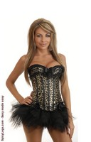 Burlesque Leopard Zipper Corset and Pettiskirt
