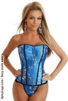 Teal Asian Brocade Corset