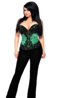 Top Drawer Plus Size Green Beaded Steel Boned Corset Top