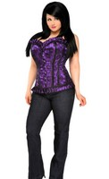 Top Drawer Plus Size Purple Lace Steel Boned Corset Top