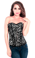 Zebra Print Valentine Vinyl Corset Top with G-string
