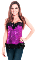 Sequin Purple Valentine Pin-Up Corset Top