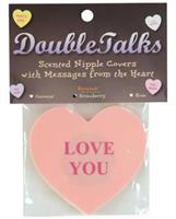 Double talks love you pastie - pink heart with strawberry scent