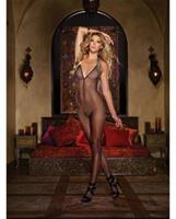 Fishnet  Sleeve Bodystocking with Open Crotch and G-string