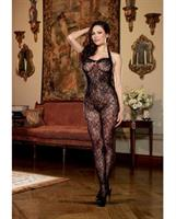 Floral Stretch Lace Open Crotch Halter Bodystocking