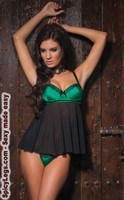 Mesh babydoll with underwire cups and g-string