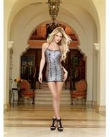 Foil Snakeskin Print Mesh and Fishnet Halter Dress with G-String