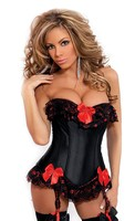 Strapless burlesque corset with ruffle and bow accents, removable garters and g-sting