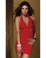 Halter Low Cut Side Tie Fiery Dress