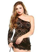 Off the Shoulder Lace Dress with Thong