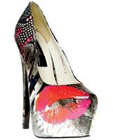"Highest Heel Marquis 6"" Platform Pattern with Lips Multi Patent Ten"