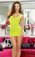 Stretch Mesh Chemise with Adjustable Back Lace Up and Thong