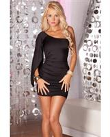 Pink lipstick high drama mini dress