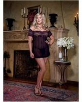Stretch mesh babydoll and thong