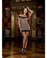 Leopard Print Stretch Mesh Chemise and Thong