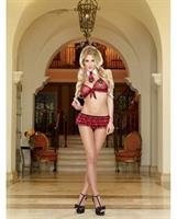 3 pc Stretch Mesh Triangle Bra, Crotchless Ruffled Panty and Neck Collar
